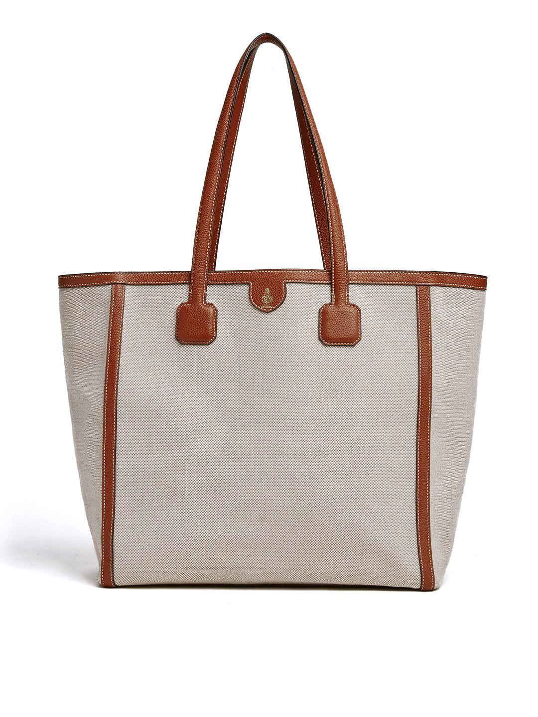 Mark Cross Antibes Birdseye & Leather Tote Bag Tumbled Grain Acorn / Birdseye Front