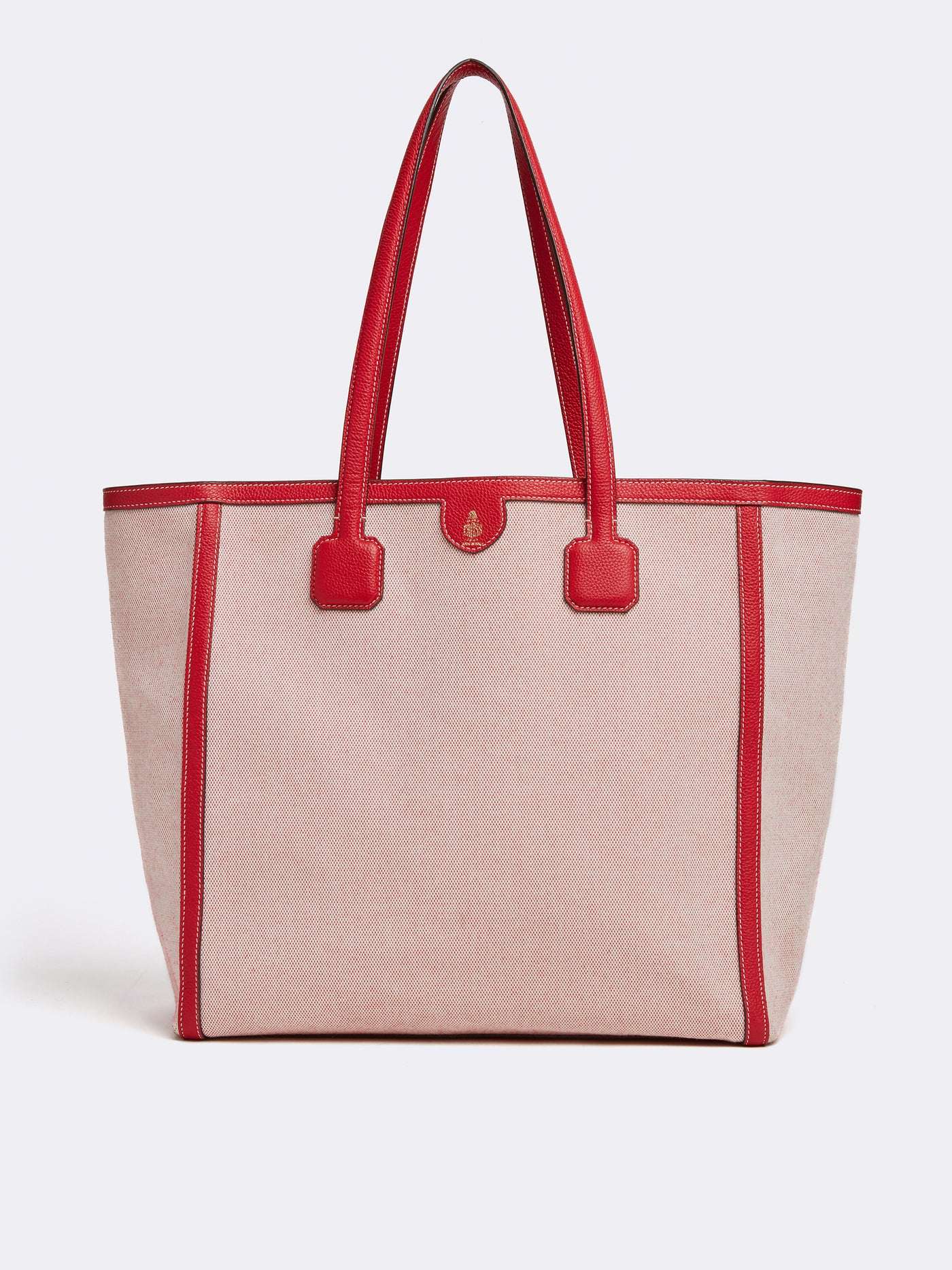 Mark Cross Antibes Birdseye & Leather Tote Bag Tumbled Grain Mc Red / Birdseye Front