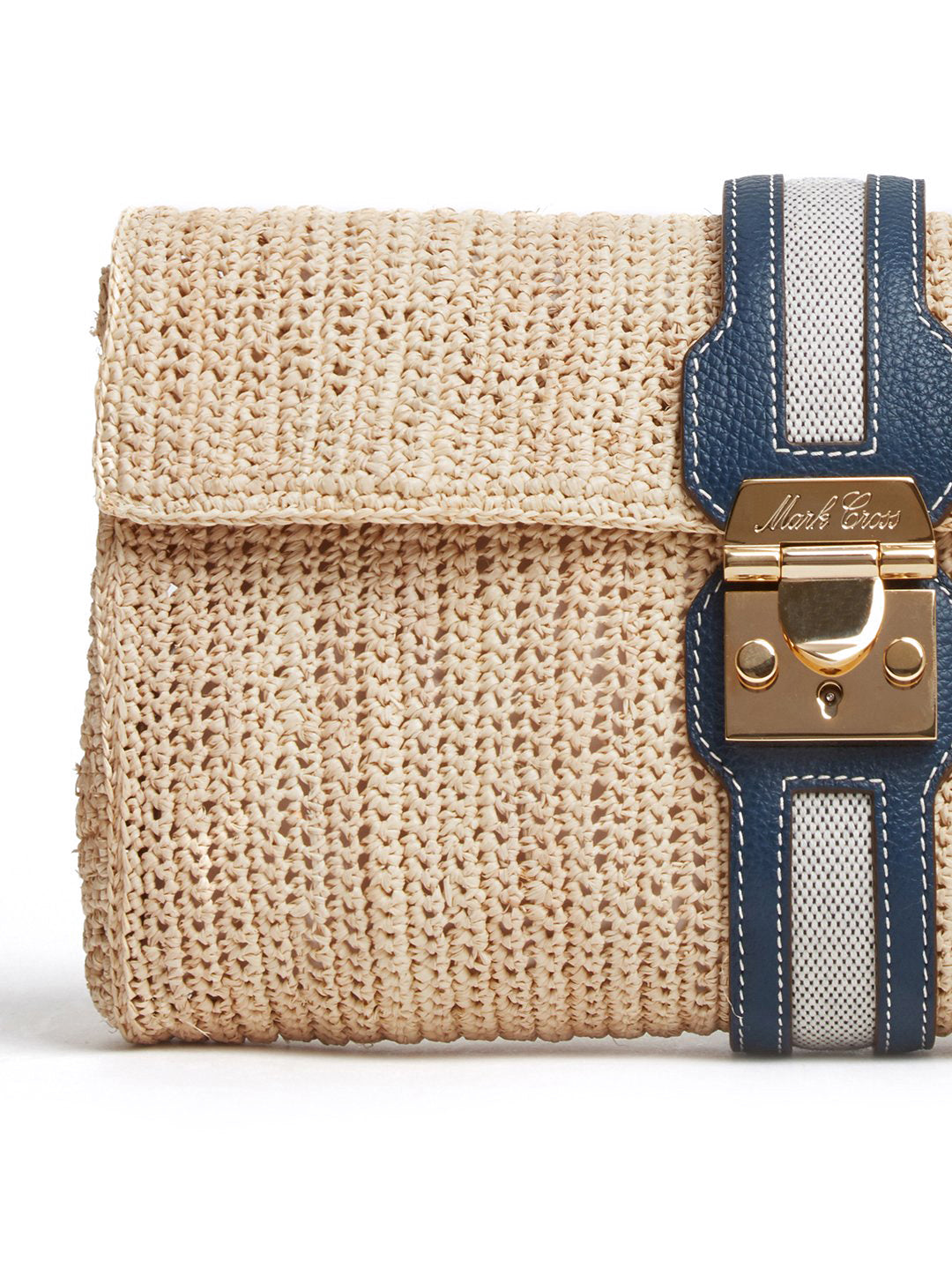 Mark Cross Sylvette Raffia & Leather Clutch Tumbled Grain Navy / Birdseye / Natural Raffia Detail