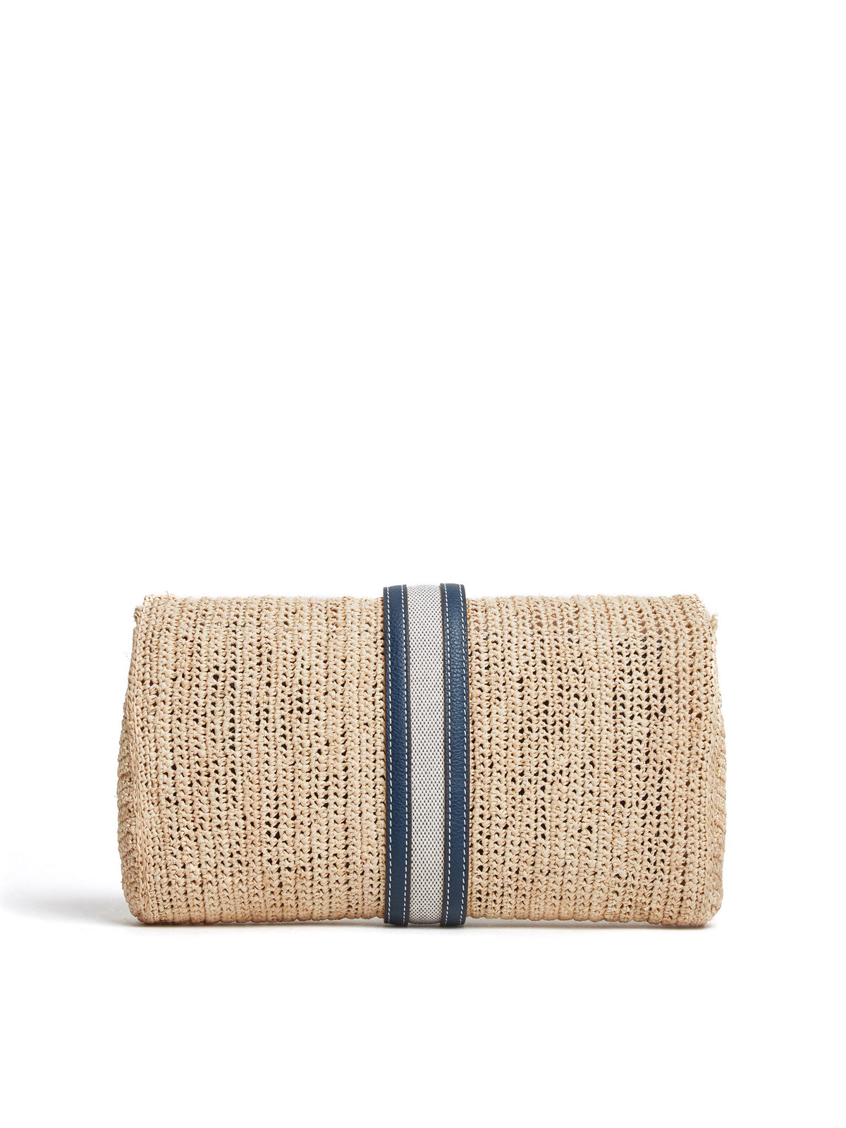 Mark Cross Sylvette Raffia & Leather Clutch Tumbled Grain Navy / Birdseye / Natural Raffia Back