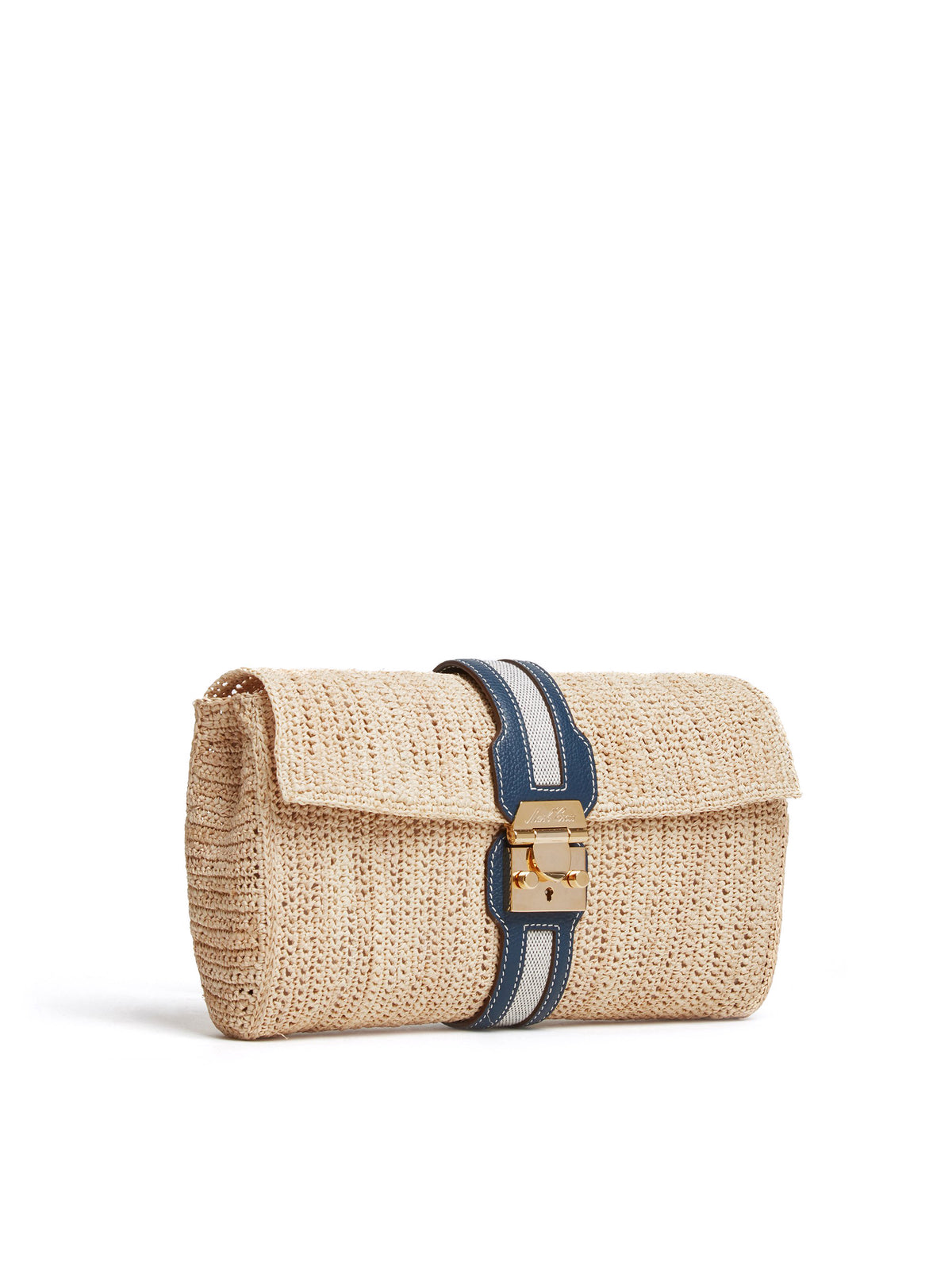 Mark Cross Sylvette Raffia & Leather Clutch Tumbled Grain Navy / Birdseye / Natural Raffia Side