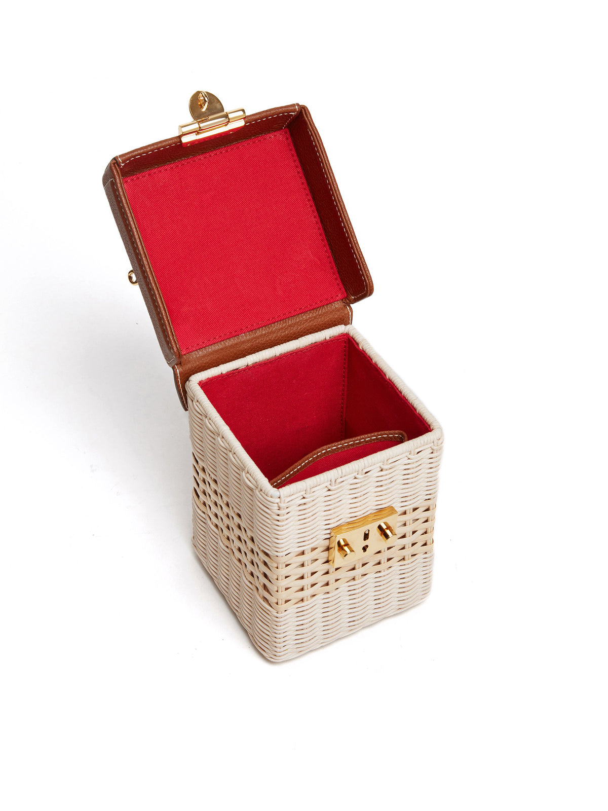 Mark Cross Grace Cube Rattan & Leather Box Bag Tumbled Grain Acorn / Bleach Rattan Interior