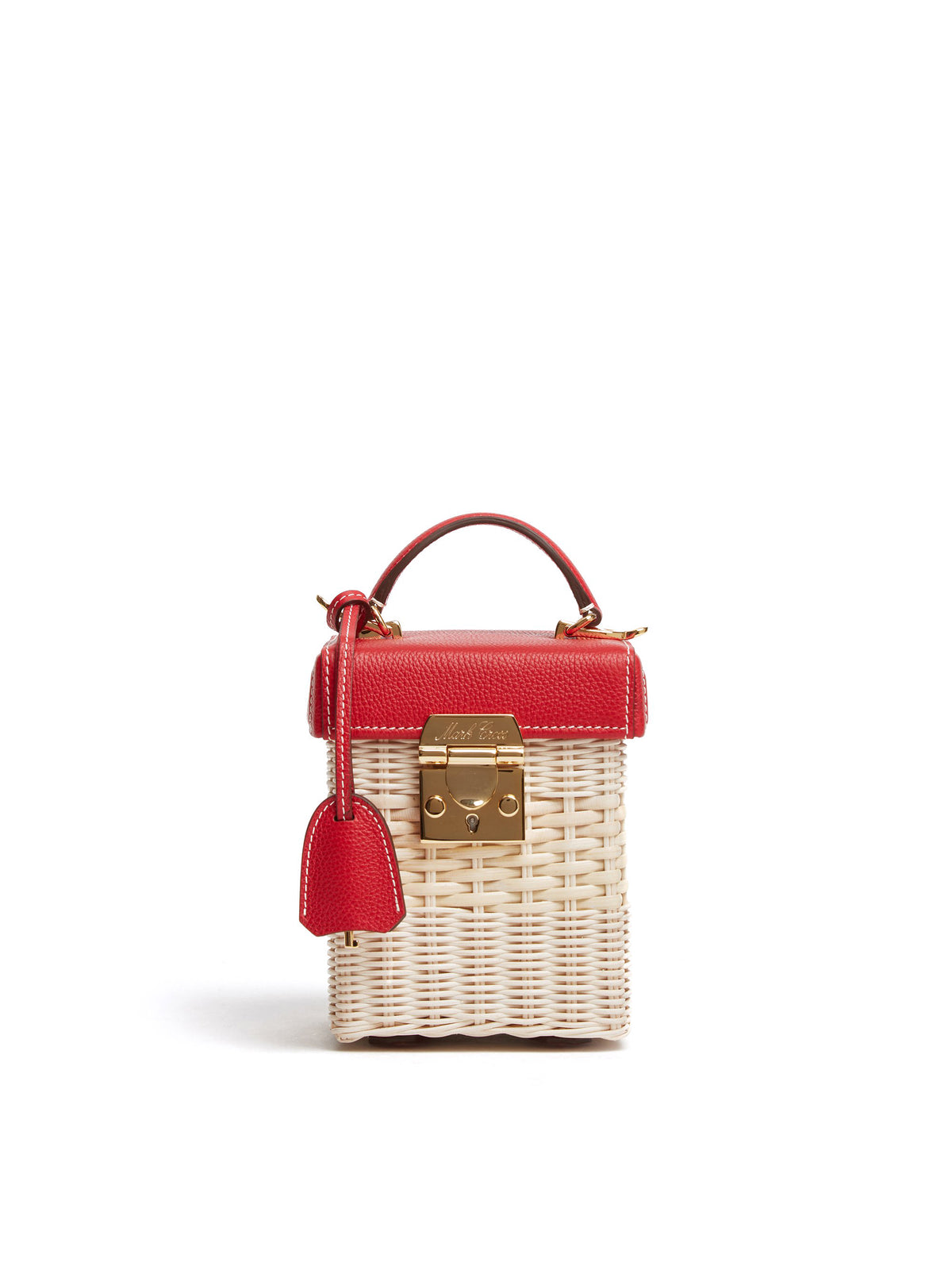 Mark Cross Grace Cube Rattan & Leather Box Bag Tumbled Grain Mc Red / Bleach Rattan Front