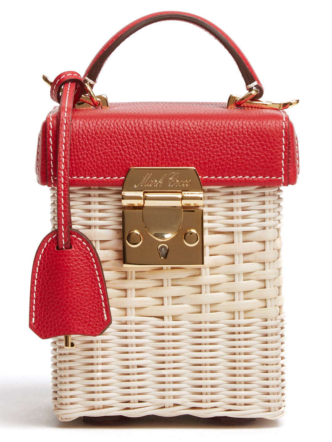 Mark Cross Grace Cube Rattan & Leather Box Bag Tumbled Grain Mc Red / Bleach Rattan Detail