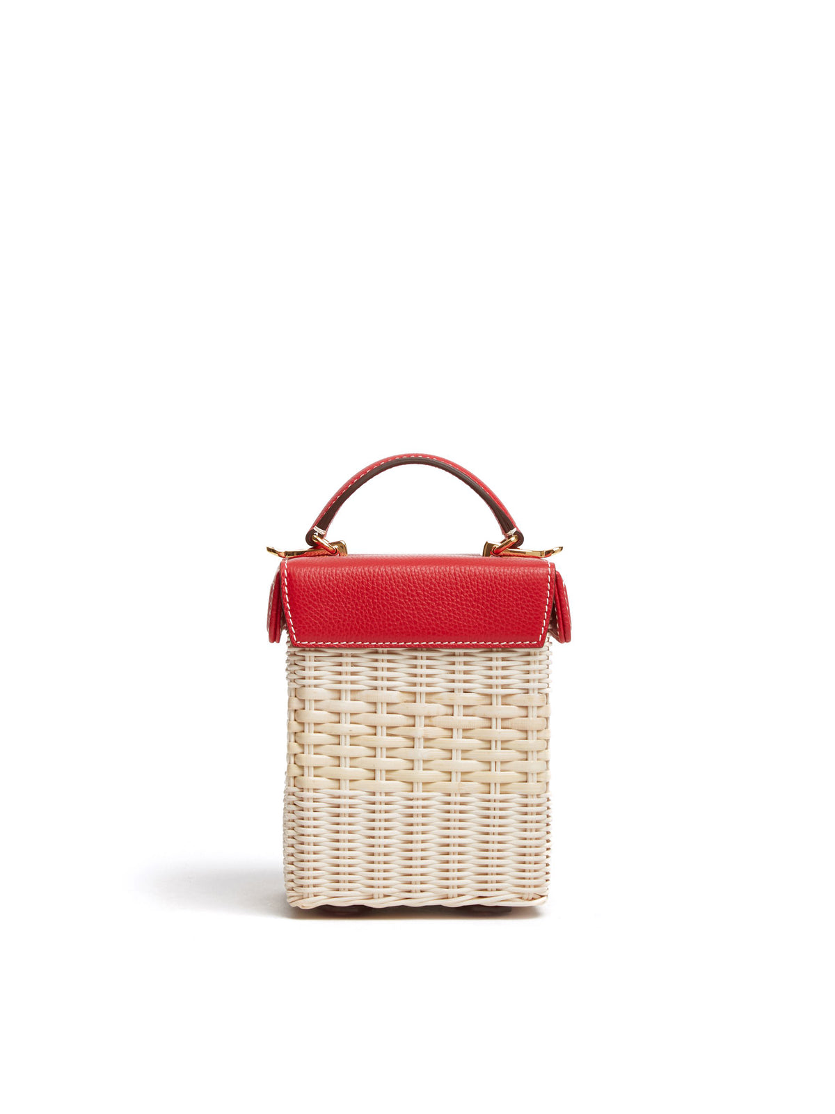 Mark Cross Grace Cube Rattan & Leather Box Bag Tumbled Grain Mc Red / Bleach Rattan Back