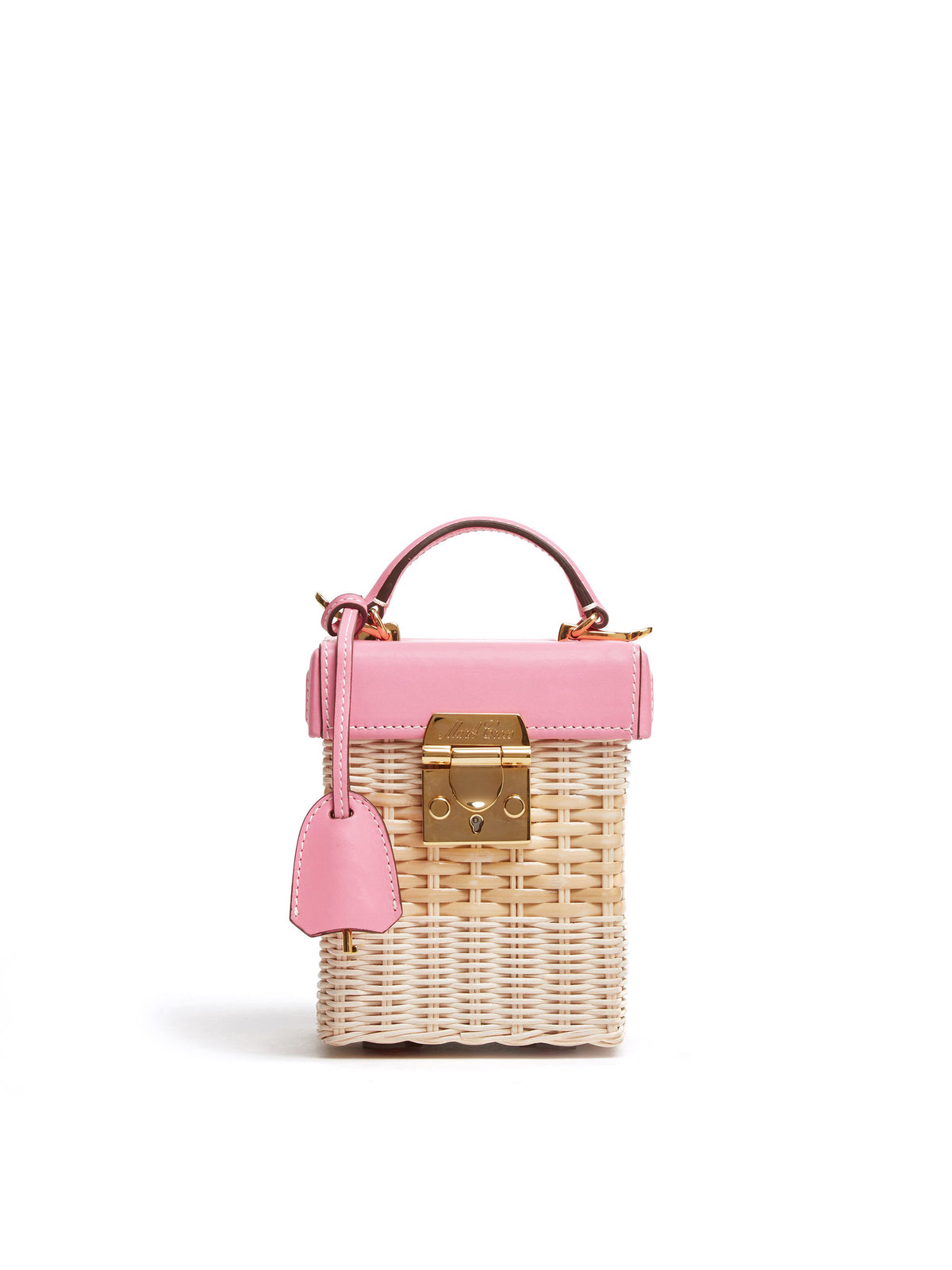 Mark Cross Grace Cube Rattan & Leather Box Bag Soft Calf Flamingo / Bleach Rattan Front