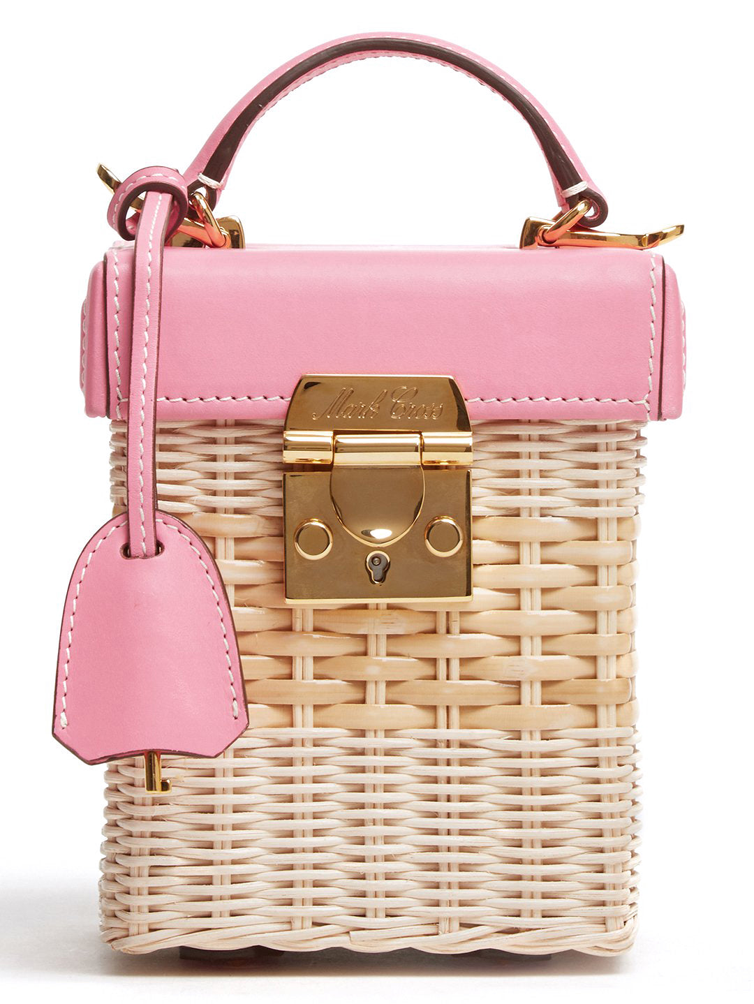 Mark Cross Grace Cube Rattan & Leather Box Bag Soft Calf Flamingo / Bleach Rattan Detail