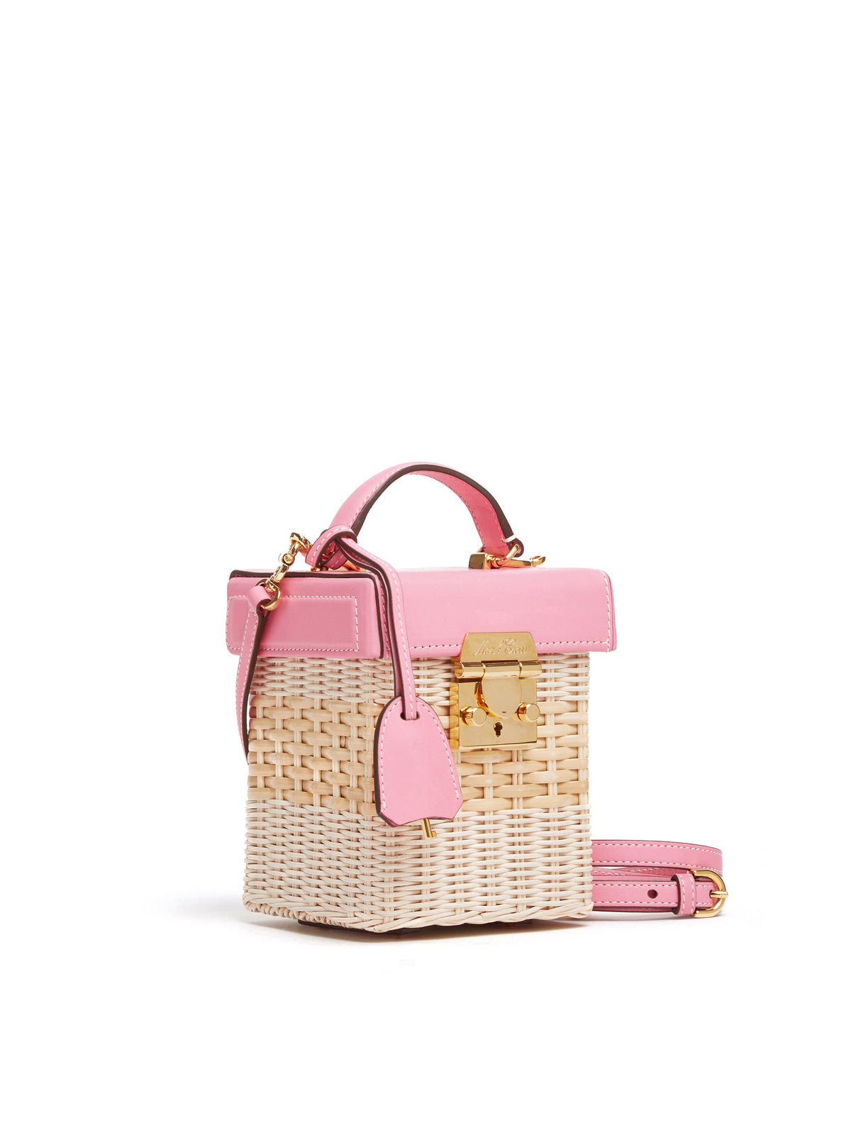 Mark Cross Grace Cube Rattan & Leather Box Bag Soft Calf Flamingo / Bleach Rattan Side