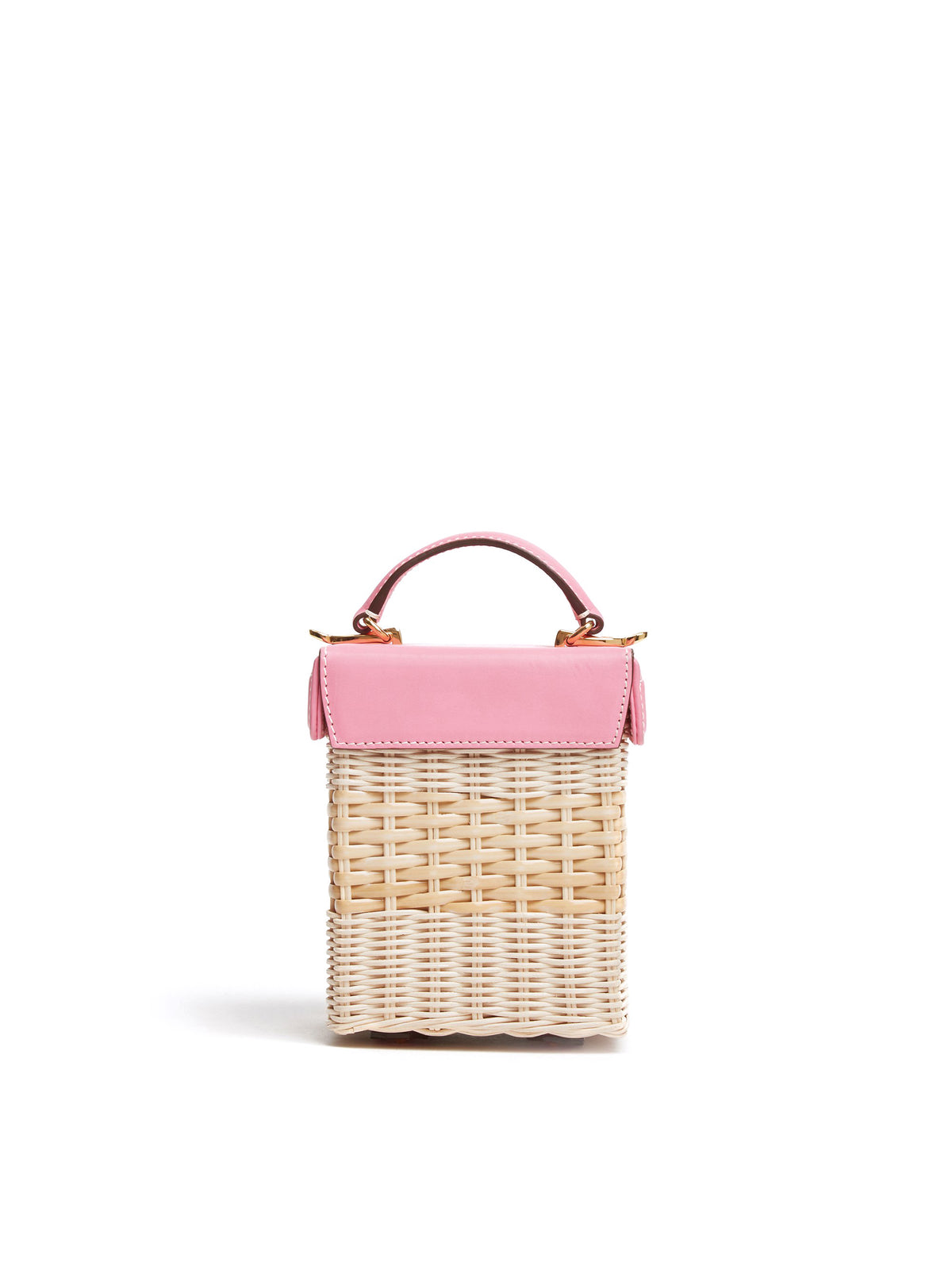 Mark Cross Grace Cube Rattan & Leather Box Bag Soft Calf Flamingo / Bleach Rattan  Back