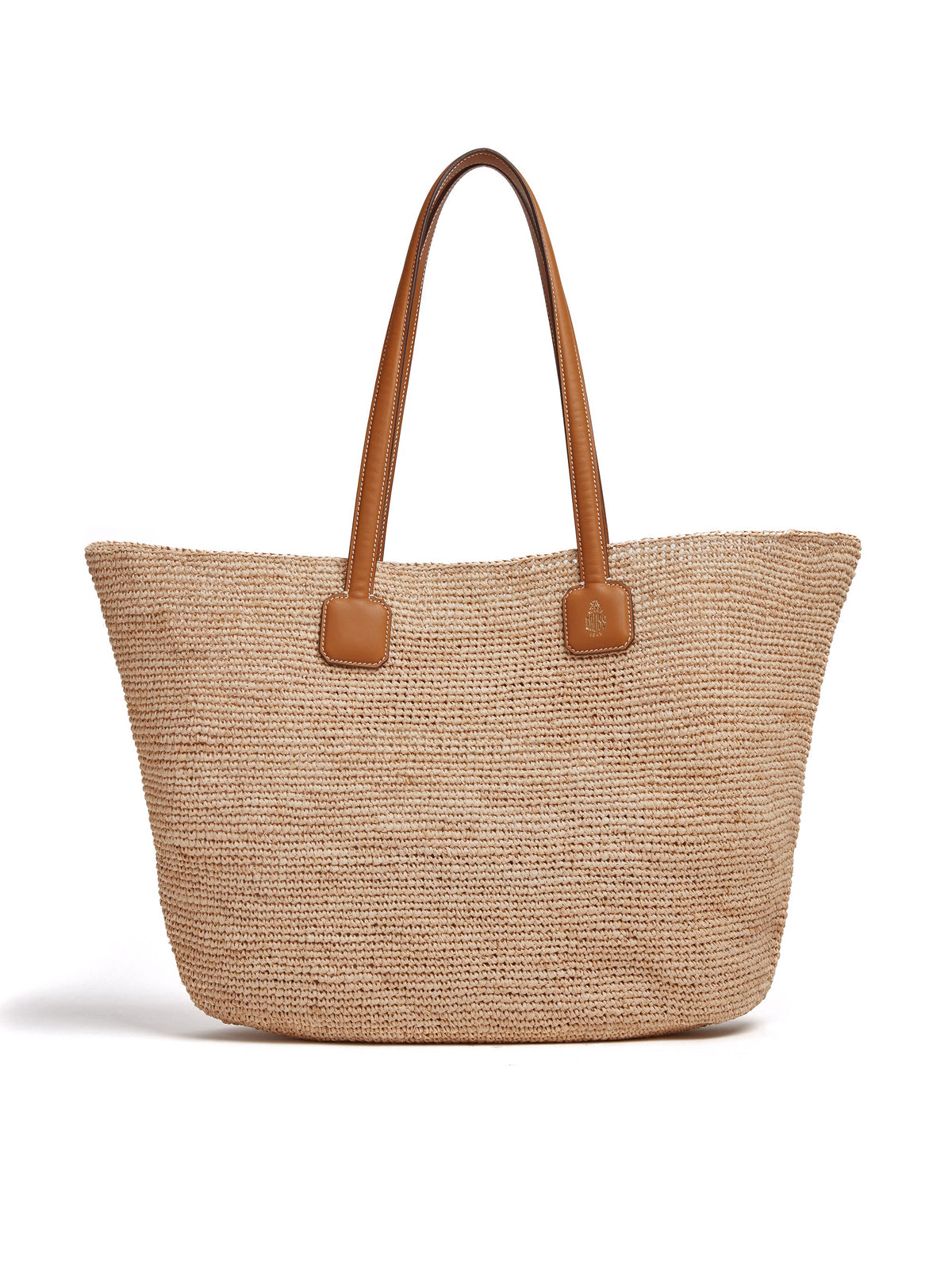 Mark Cross Côte d'Azur Raffia & Leather Tote Bag Soft Calf Luggage / Natural Raffia Front