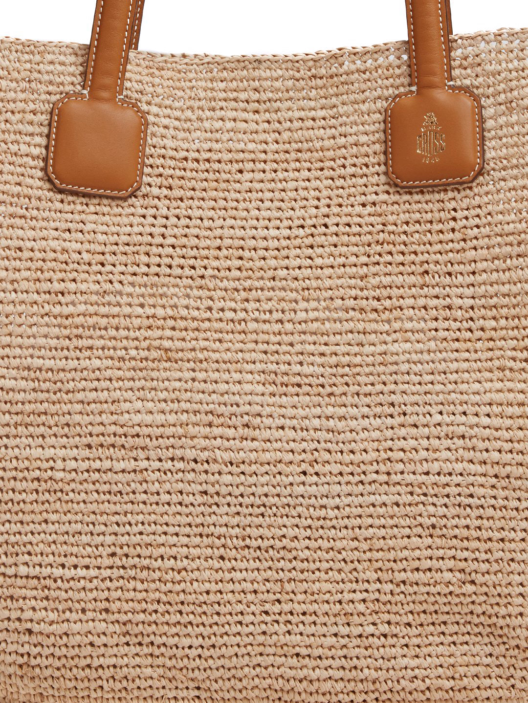 Mark Cross Côte d'Azur Raffia & Leather Tote Bag Soft Calf Luggage / Natural Raffia Detail