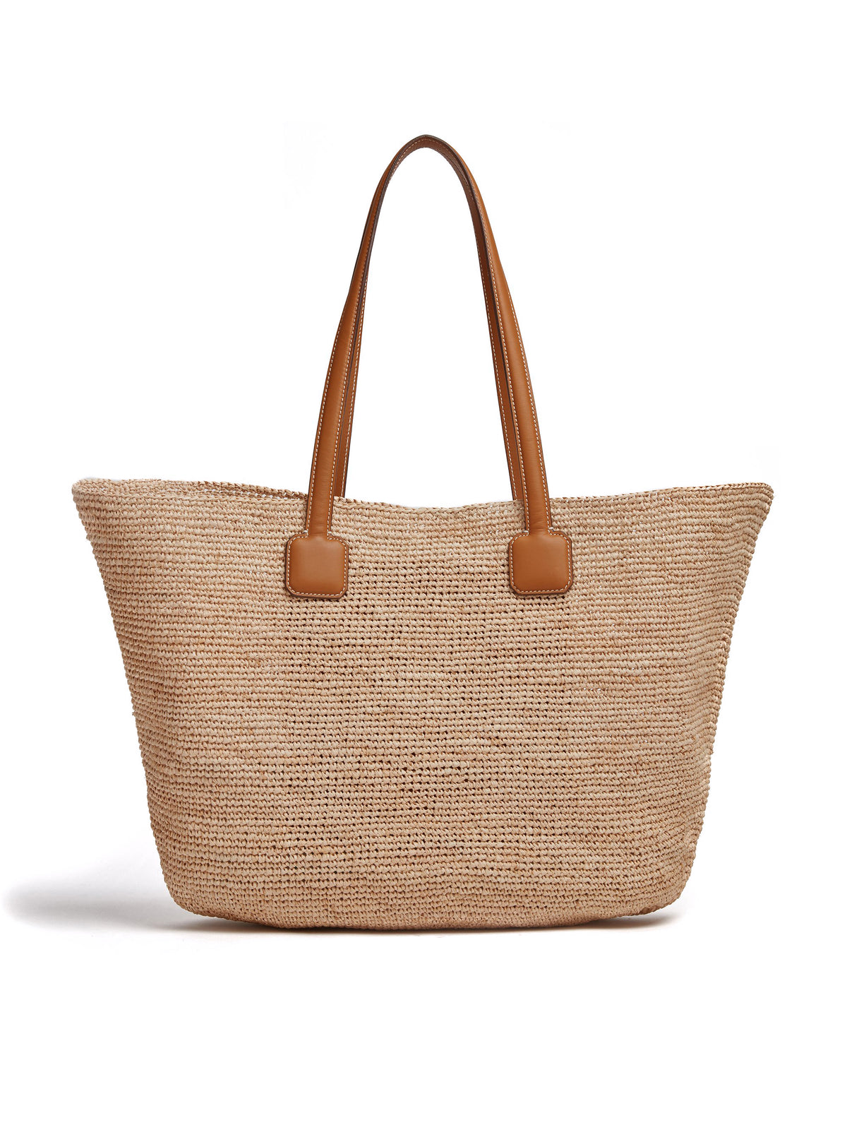 Mark Cross Côte d'Azur Raffia & Leather Tote Bag Soft Calf Luggage / Natural Raffia Back