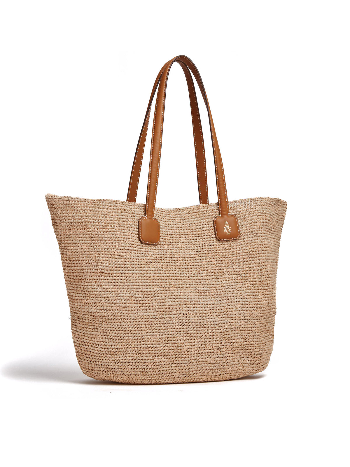 Mark Cross Côte d'Azur Raffia & Leather Tote Bag Soft Calf Luggage / Natural Raffia Side