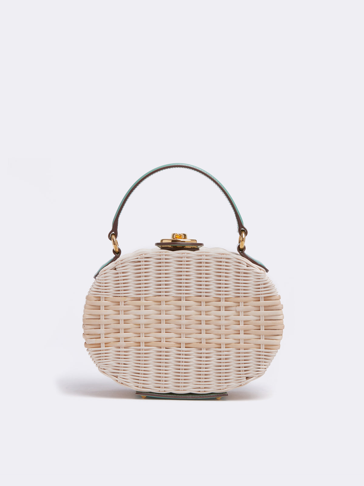 Mark Cross Gianna Leather & Rattan Oval Box Bag Brush Off Celadon / Bleach Rattan Front