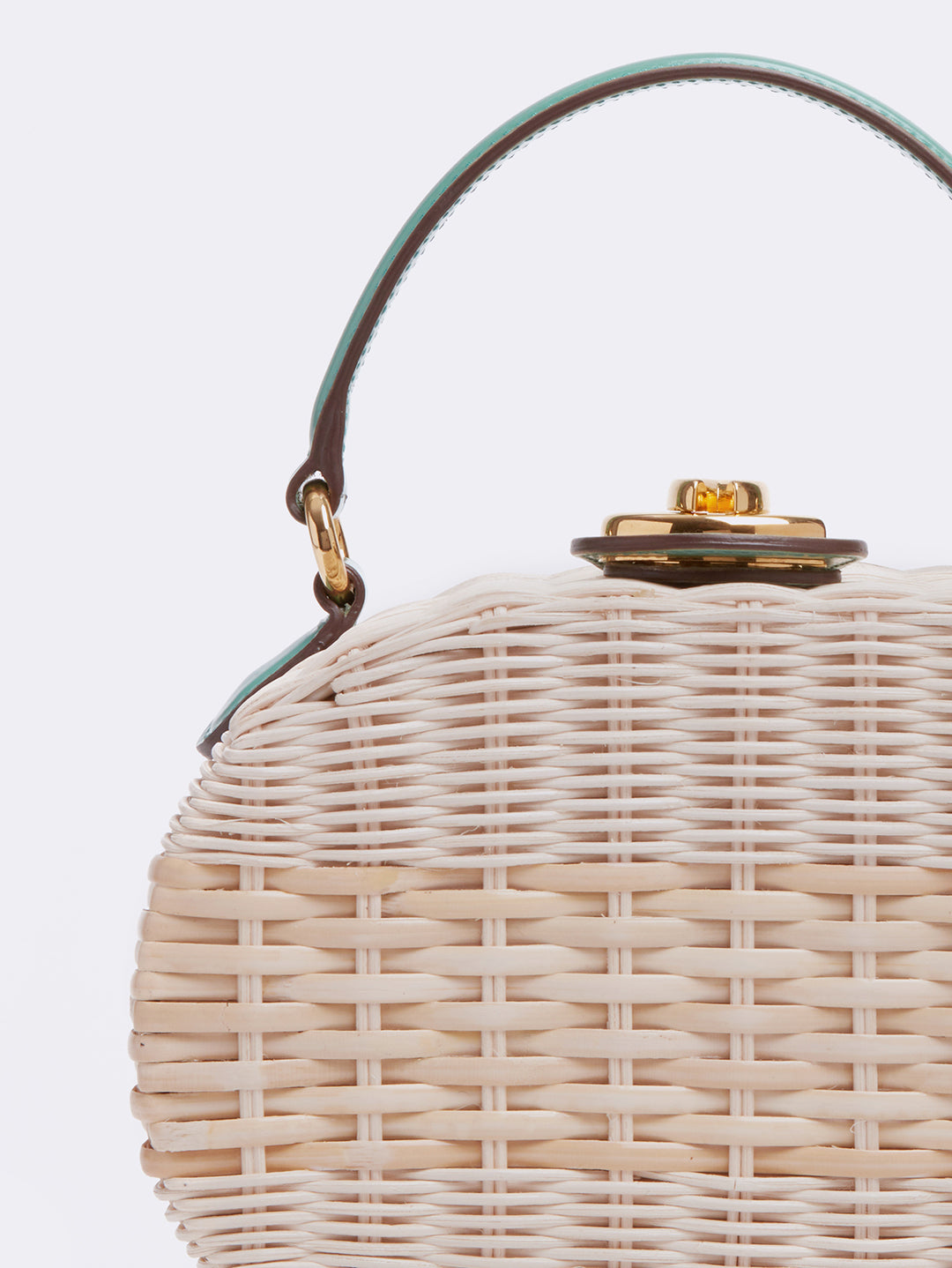 Mark Cross Gianna Leather & Rattan Oval Box Bag Brush Off Celadon / Bleach Rattan Detail