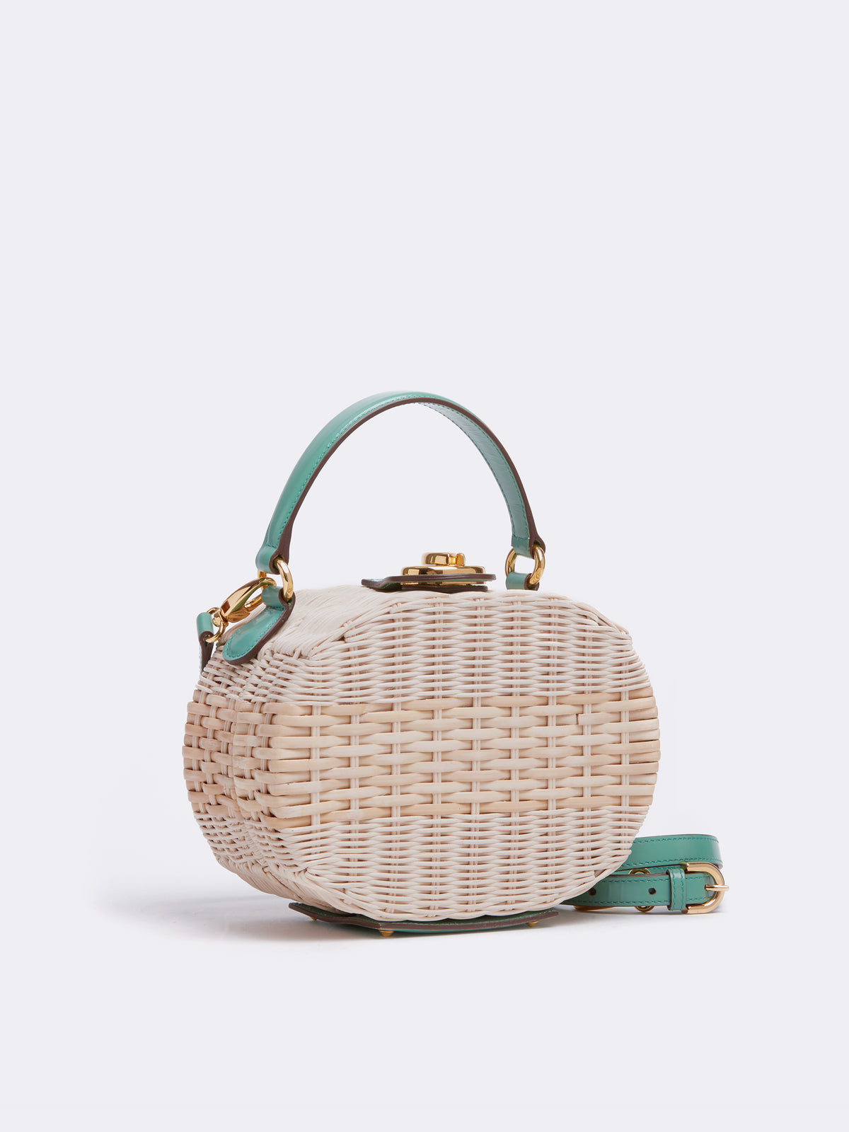 Mark Cross Gianna Leather & Rattan Oval Box Bag Brush Off Celadon / Bleach Rattan Side
