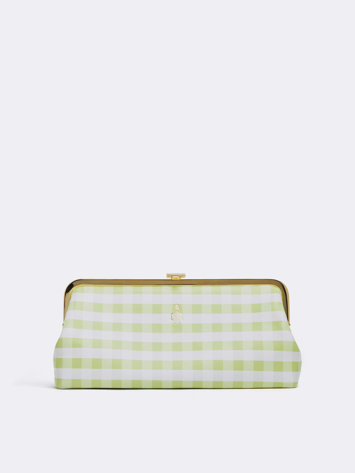 Mark Cross Susanna Leather Frame Clutch Nappa Gingham Citron Front