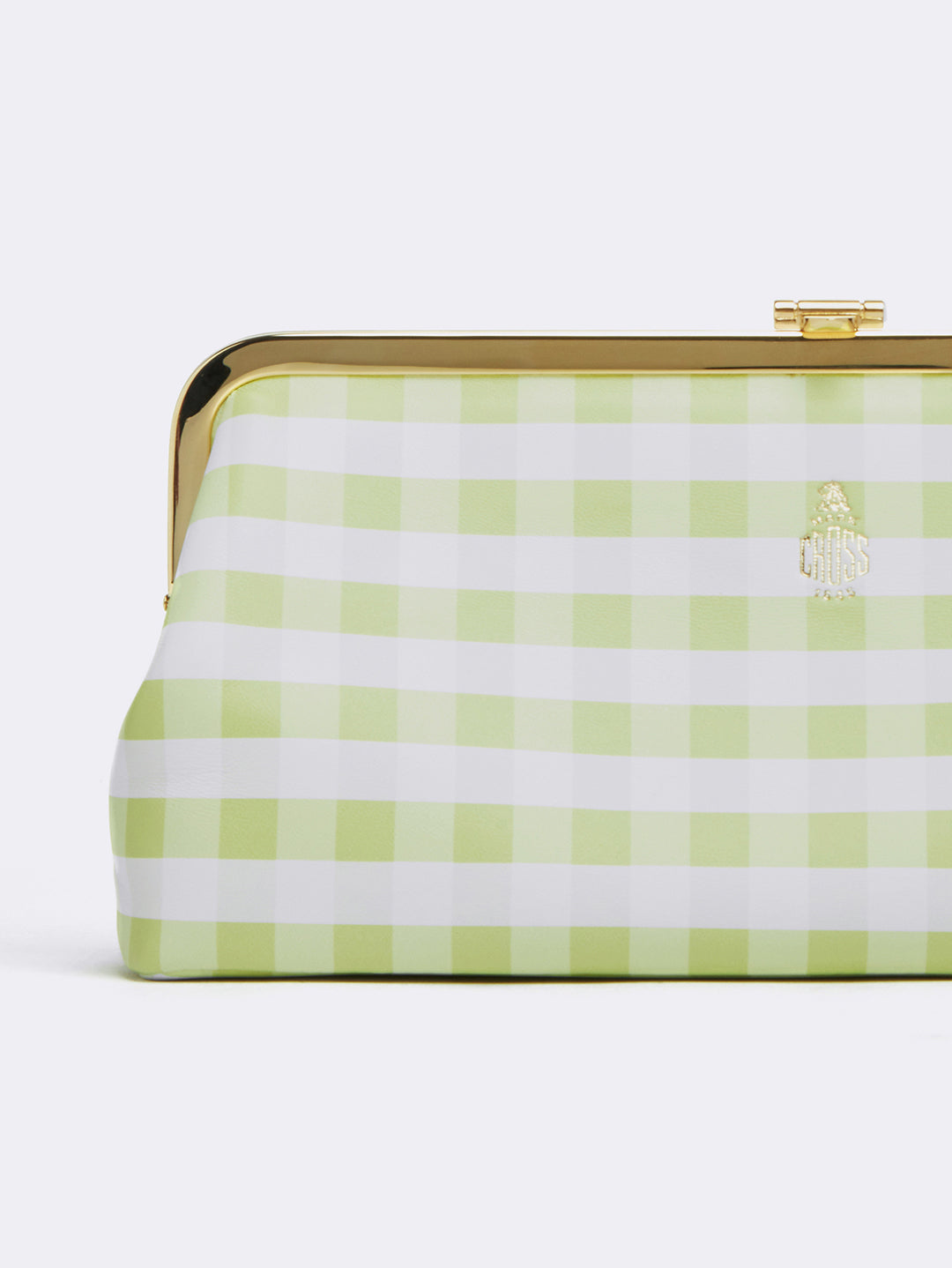 Mark Cross Susanna Leather Frame Clutch Nappa Gingham Citron Detail