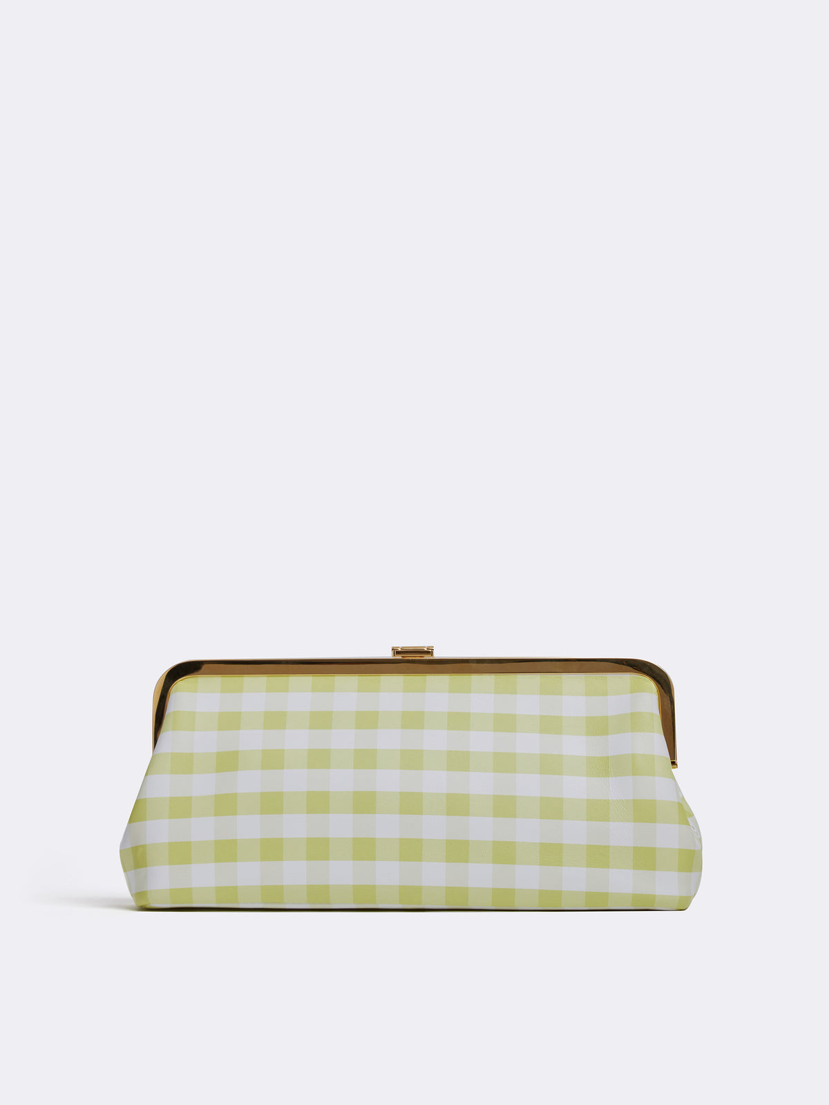 Mark Cross Susanna Leather Frame Clutch Nappa Gingham Citron Back