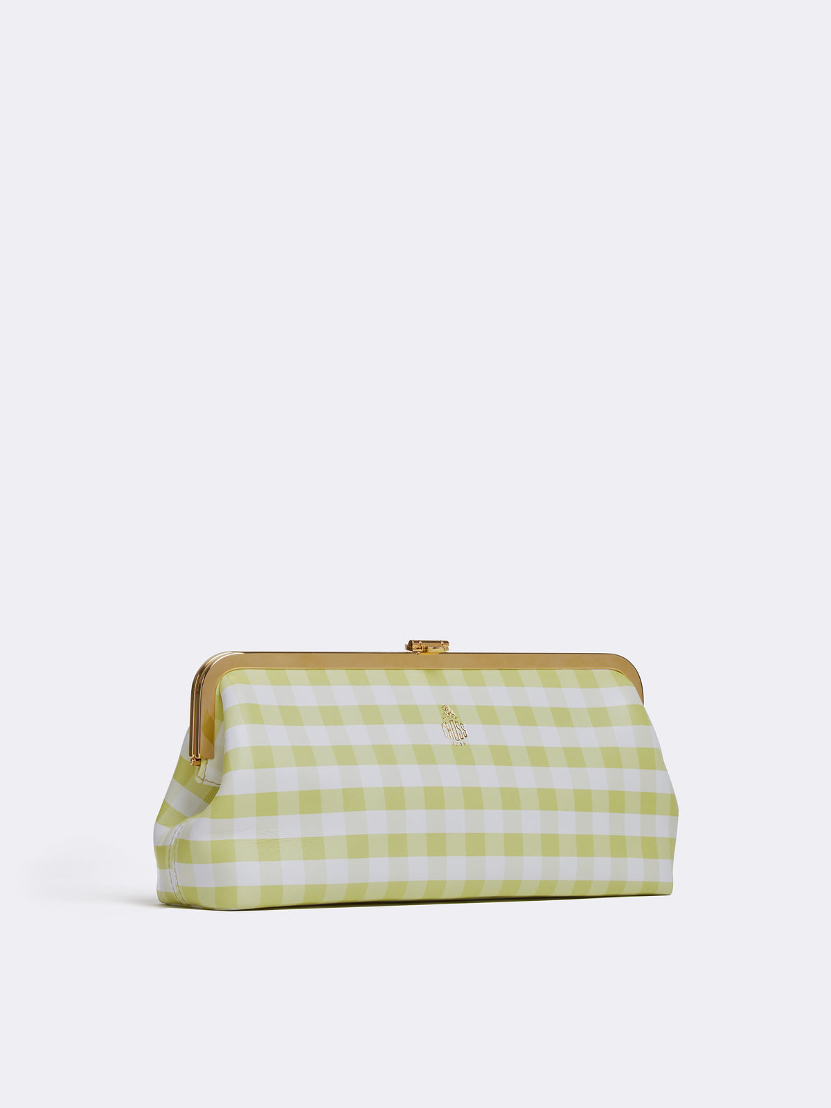 Mark Cross Susanna Leather Frame Clutch Nappa Gingham Citron Side