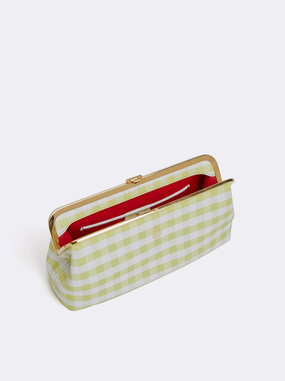 Mark Cross Susanna Leather Frame Clutch Nappa Gingham Citron Interior