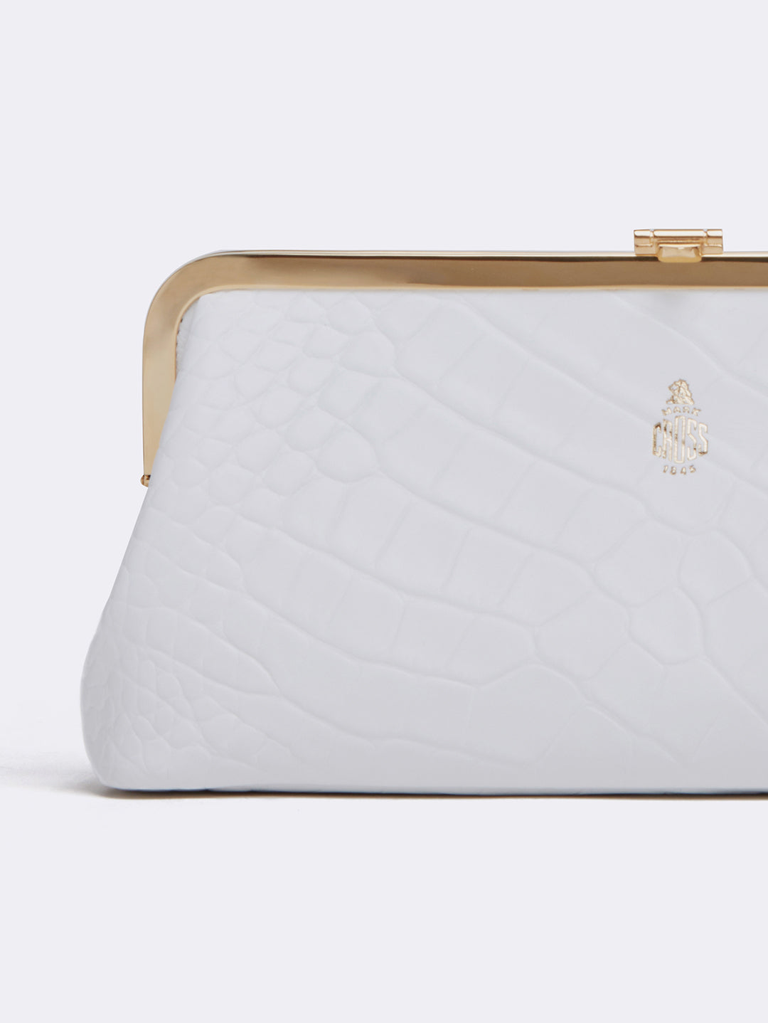 Mark Cross Susanna Leather Frame Clutch Crocodile Stamped White Detail