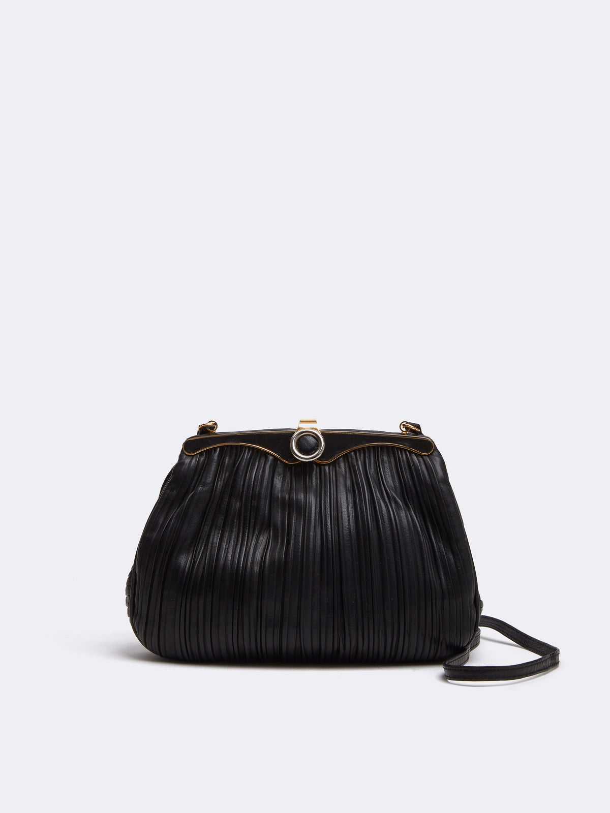 Mark Cross Archive Pleated Leather Frame Bag Black Front