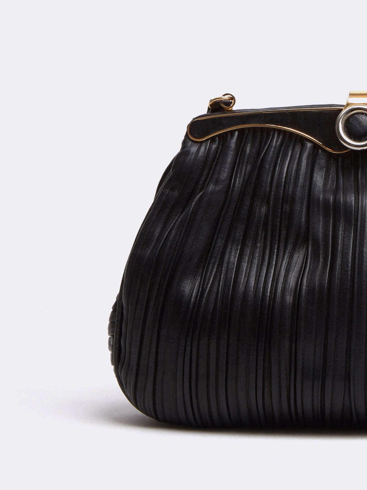 Mark Cross Archive Pleated Leather Frame Bag Black Detail