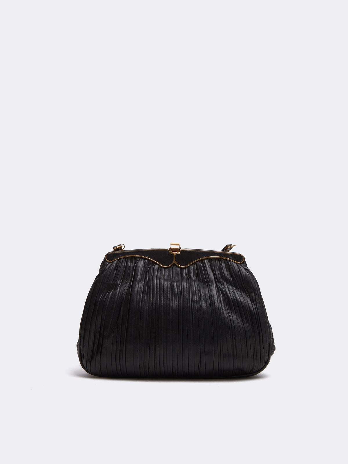 Mark Cross Archive Pleated Leather Frame Bag Black Back