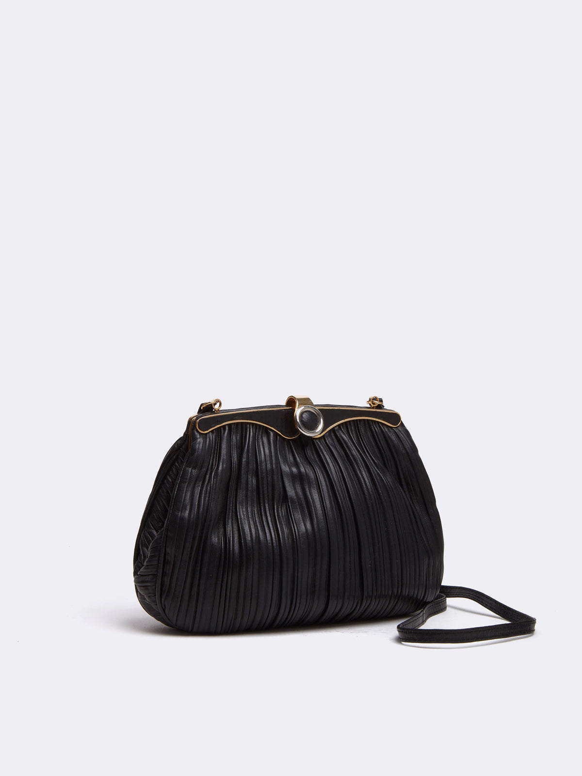 Mark Cross Archive Pleated Leather Frame Bag Black Side