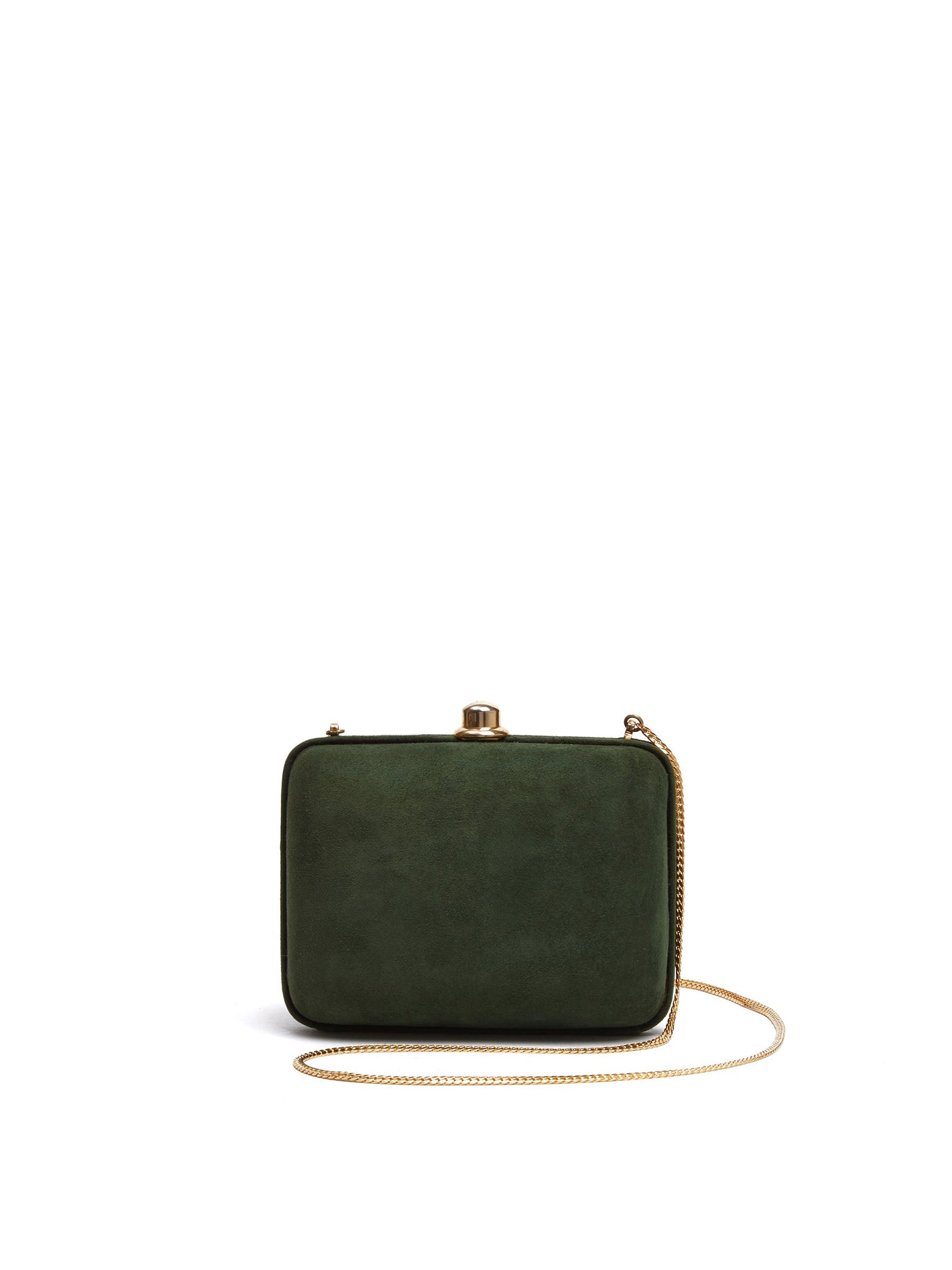 Mark Cross Vintage Suede Clutch Evergreen Front