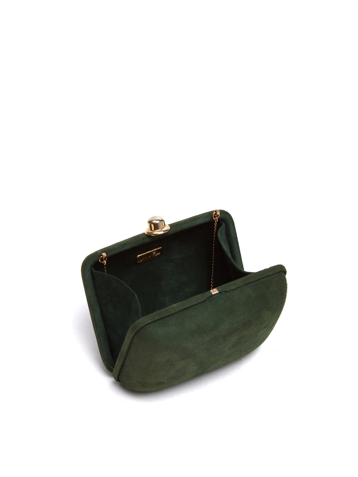 Mark Cross Vintage Suede Clutch Evergreen Interior