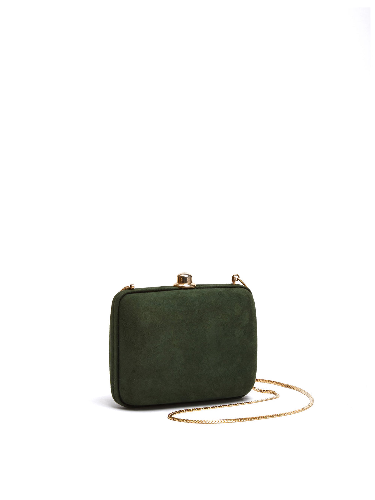Mark Cross Vintage Suede Clutch Evergreen Side