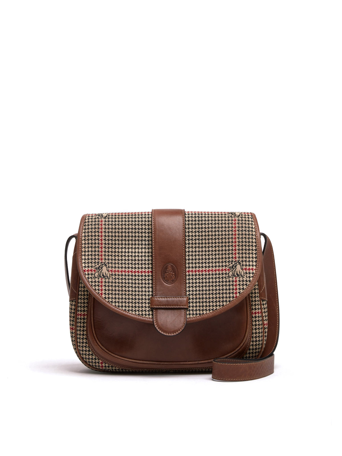 Mark Cross Vintage Houndstooth Leather Crossbody Bag Cognac Front