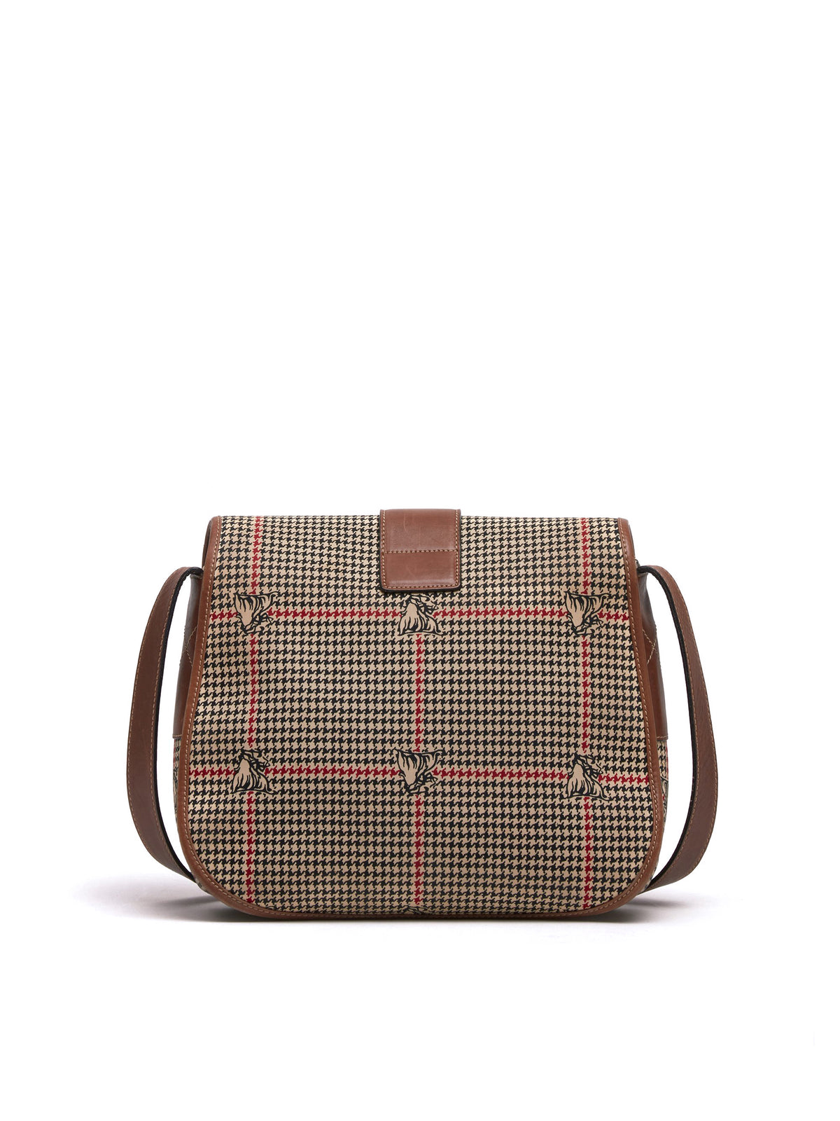 Mark Cross Vintage Houndstooth Leather Crossbody Bag Cognac Back