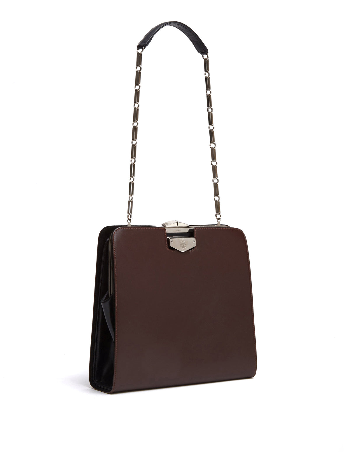Mark Cross Vintage Convertible Leather Bag Chocolate Side