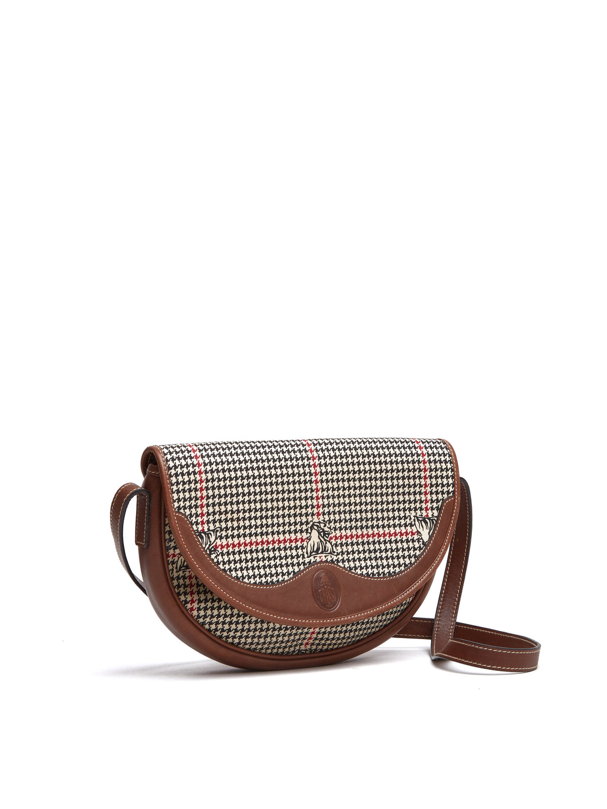Vintage Houndstooth Leather Shoulder Bag