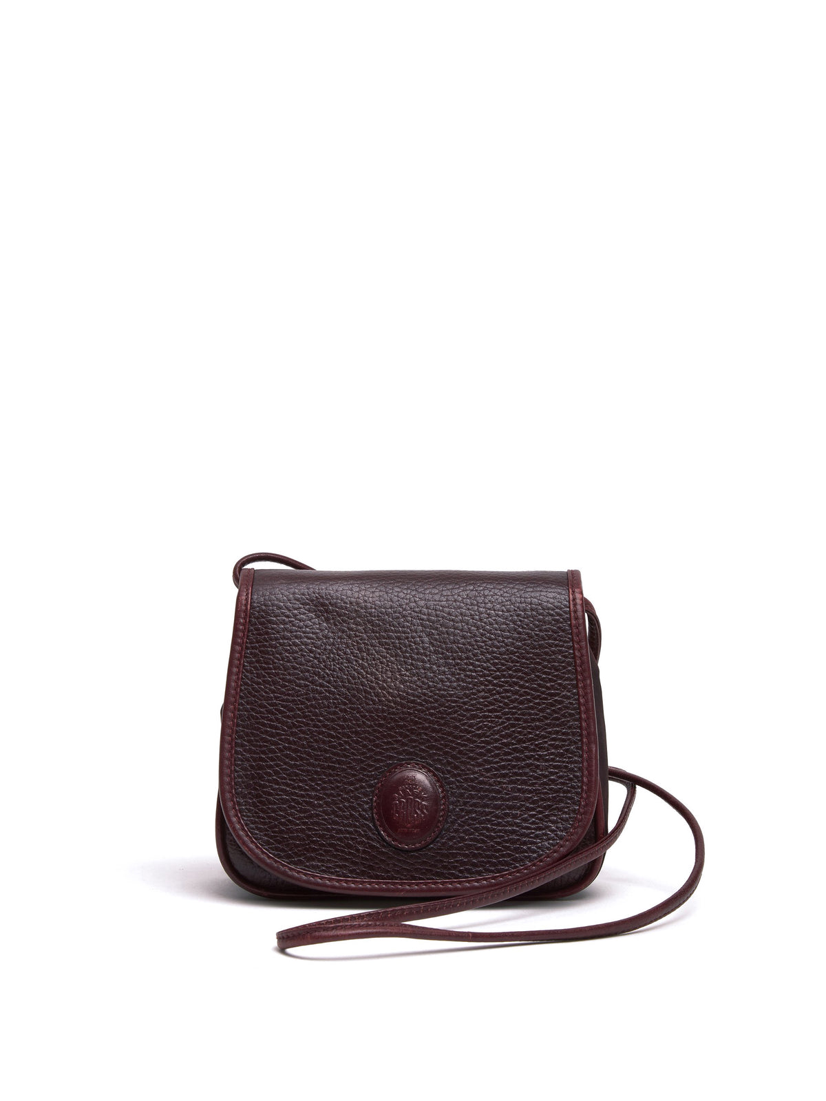 Mark Cross Vintage Mini Leather Crossbody Bag Burgundy Front