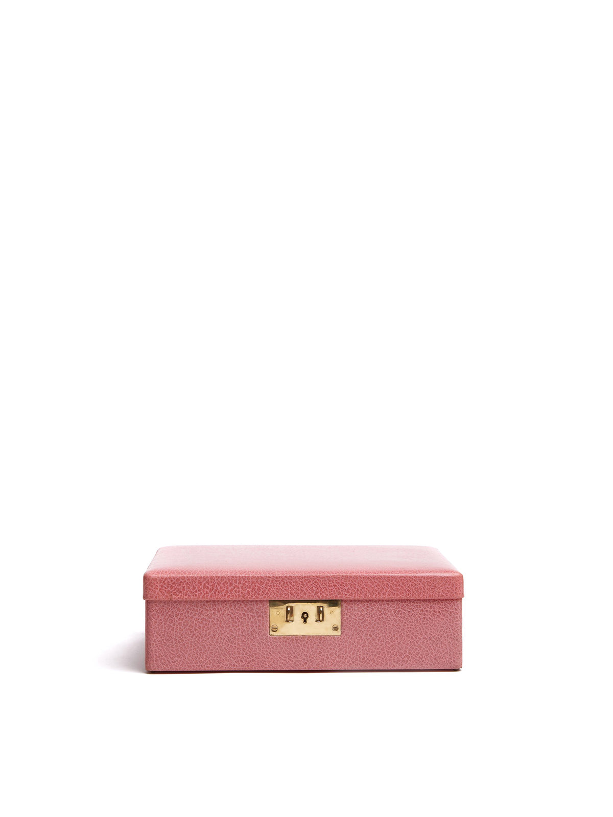 Mark Cross Vintage Leather Jewelry Box Pink Side