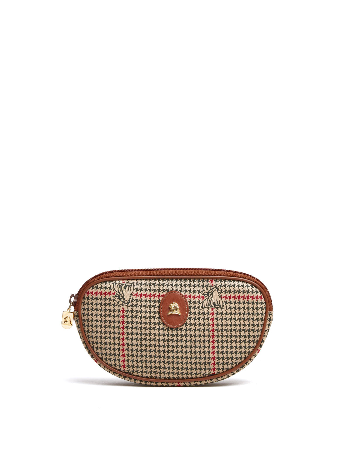 Mark Cross Vintage Houndstooth Cosmetic Bag Cognac Front