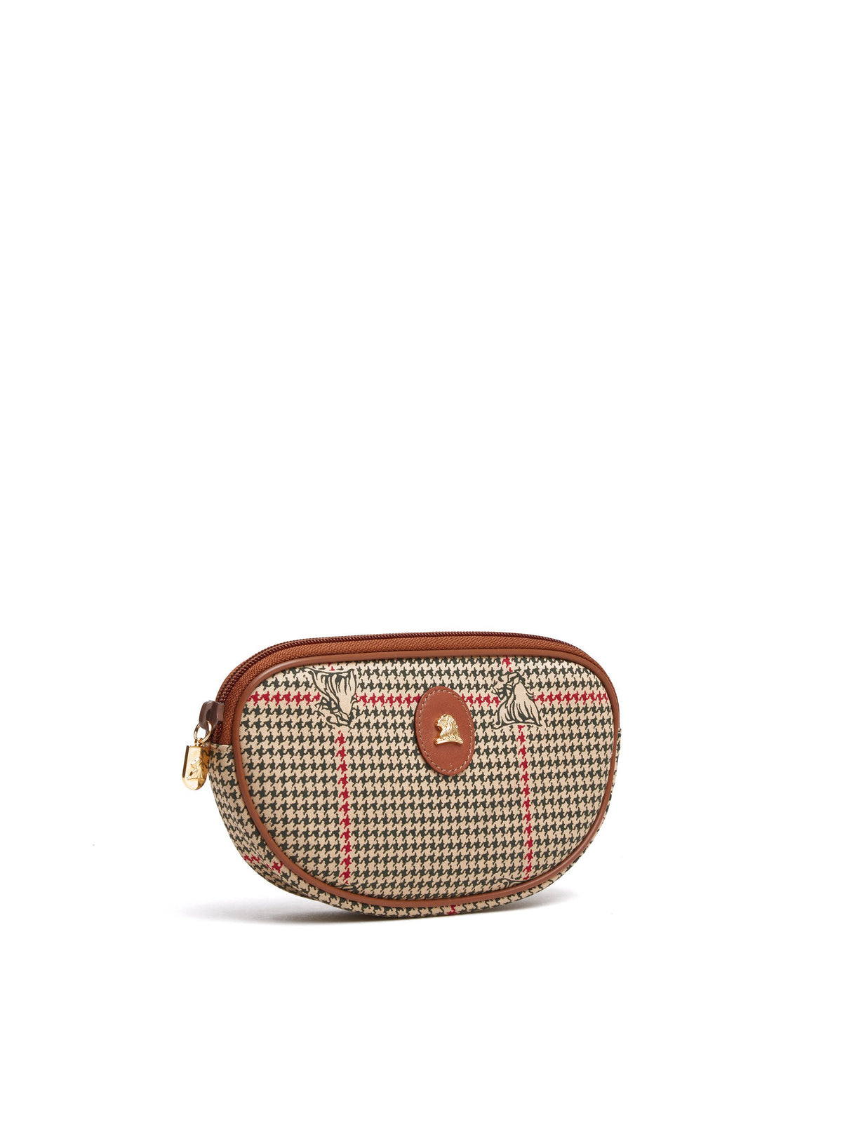 Mark Cross Vintage Houndstooth Cosmetic Bag Cognac Side