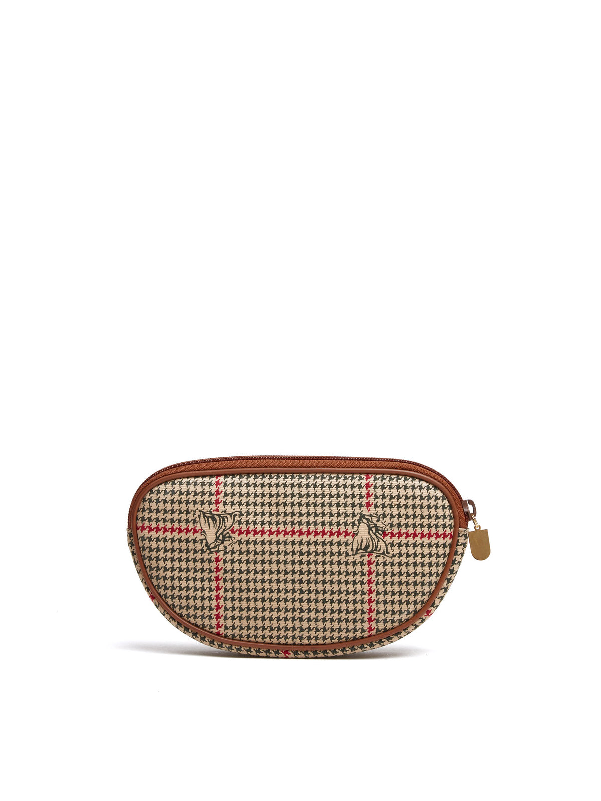 Mark Cross Vintage Houndstooth Cosmetic Bag Cognac Back
