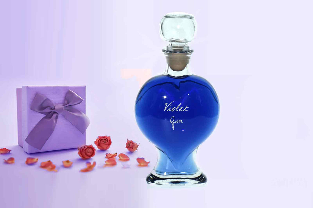Heart Decanter with Violet Gin