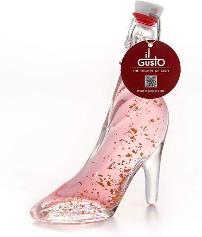 Turkish Delight Gin Gift - Lady Shoe Shaped Glass Bottle with 22 Carat Gold Flakes - 40ml - 26%