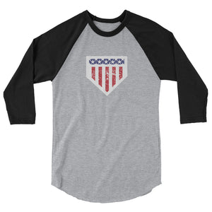 Home of the Brave Raglan - Heather Grey/Black