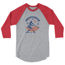 Load image into Gallery viewer, Fireworks Night Raglan - Heather Grey/Heather Red