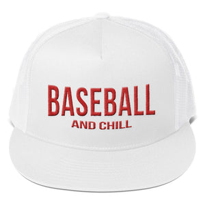 Baseball and Chill Trucker Cap - White