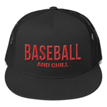 Load image into Gallery viewer, Baseball and Chill Trucker Cap - Black
