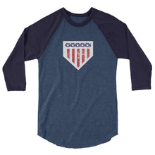 Load image into Gallery viewer, Home of the Brave Raglan - Heather Denim/Navy