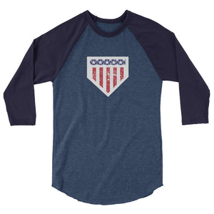 Home of the Brave Raglan - Heather Denim/Navy